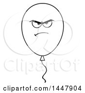 Cartoon Black And White Lineart Angry Party Balloon Character