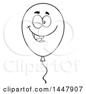 Clipart Of A Cartoon Black And White Lineart Winking Party Balloon Character Royalty Free Vector Illustration