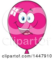 Clipart Of A Cartoon Happy Magenta Party Balloon Mascot Royalty Free Vector Illustration