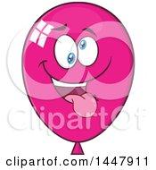 Clipart Of A Cartoon Goofy Magenta Party Balloon Mascot Royalty Free Vector Illustration