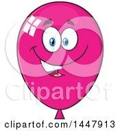 Poster, Art Print Of Cartoon Happy Magenta Party Balloon Mascot