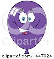 Clipart Of A Cartoon Happy Purple Party Balloon Mascot Royalty Free Vector Illustration