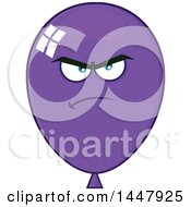 Clipart Of A Cartoon Mad Purple Party Balloon Mascot Royalty Free Vector Illustration