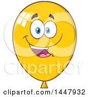 Clipart Of A Cartoon Happy Yellow Party Balloon Mascot Royalty Free Vector Illustration