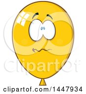 Clipart Of A Cartoon Stressed Yellow Party Balloon Mascot Royalty Free Vector Illustration by Hit Toon