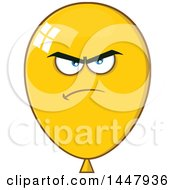 Clipart Of A Cartoon Mad Yellow Party Balloon Mascot Royalty Free Vector Illustration by Hit Toon