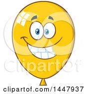 Clipart Of A Cartoon Happy Yellow Party Balloon Mascot Royalty Free Vector Illustration by Hit Toon