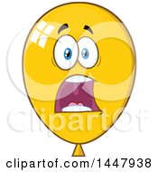 Clipart Of A Cartoon Screaming Yellow Party Balloon Mascot Royalty Free Vector Illustration