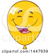 Clipart Of A Cartoon Laughing Yellow Party Balloon Mascot Royalty Free Vector Illustration by Hit Toon