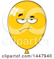 Clipart Of A Cartoon Bored Yellow Party Balloon Mascot Royalty Free Vector Illustration by Hit Toon