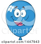 Clipart Of A Cartoon Happy Blue Party Balloon Mascot Royalty Free Vector Illustration