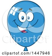 Poster, Art Print Of Cartoon Happy Blue Party Balloon Mascot