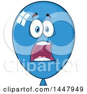 Clipart Of A Cartoon Screaming Blue Party Balloon Mascot Royalty Free Vector Illustration