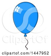 Clipart Of A Cartoon Blue Party Balloon Royalty Free Vector Illustration