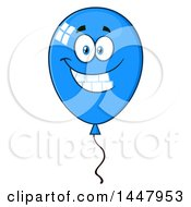 Clipart Of A Cartoon Blue Party Balloon Character Royalty Free Vector Illustration