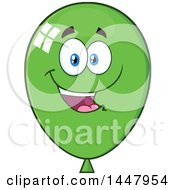 Clipart Of A Cartoon Happy Green Party Balloon Mascot Royalty Free Vector Illustration by Hit Toon