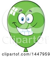 Cartoon Happy Green Party Balloon Mascot
