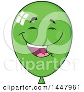 Cartoon Laughing Green Party Balloon Mascot