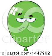 Cartoon Bored Green Party Balloon Mascot