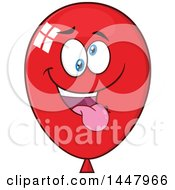 Clipart Of A Cartoon Goofy Red Party Balloon Mascot Royalty Free Vector Illustration by Hit Toon