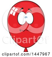 Clipart Of A Cartoon Stressed Red Party Balloon Mascot Royalty Free Vector Illustration by Hit Toon