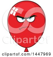 Clipart Of A Cartoon Mad Red Party Balloon Mascot Royalty Free Vector Illustration by Hit Toon