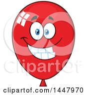Clipart Of A Cartoon Happy Red Party Balloon Mascot Royalty Free Vector Illustration by Hit Toon