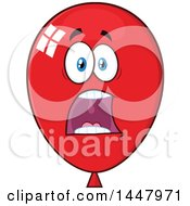 Clipart Of A Cartoon Screaming Red Party Balloon Mascot Royalty Free Vector Illustration by Hit Toon