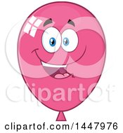 Clipart Of A Cartoon Happy Pink Party Balloon Mascot Royalty Free Vector Illustration by Hit Toon