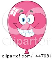Clipart Of A Cartoon Happy Pink Party Balloon Mascot Royalty Free Vector Illustration