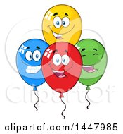 Clipart Of A Cartoon Group Of Happy Party Balloon Mascots Royalty Free Vector Illustration