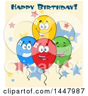 Clipart Of A Cartoon Group Of Party Balloon Mascots With Happy Birthday Text Over Stars Royalty Free Vector Illustration
