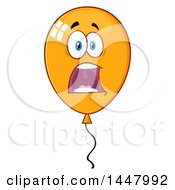 Poster, Art Print Of Cartoon Terrified Orange Party Balloon Character