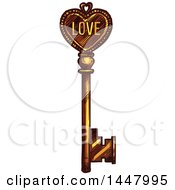 Clipart Of A Sketched Golden Heart Skeleton Key Royalty Free Vector Illustration by Vector Tradition SM