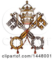 Sketched Design Of Vatican Heraldic Keys State Official Symbol On Flag And Coat Of Arms