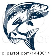 Clipart Of A Navy Blue Salmon Fish Royalty Free Vector Illustration