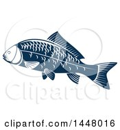 Clipart Of A Navy Blue Carp Fish Royalty Free Vector Illustration