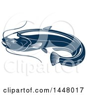 Clipart Of A Navy Blue Sheatfish Royalty Free Vector Illustration