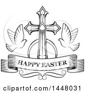 Clipart Of A Black And White Cross With Doves And A Happy Easter Ribbon Banner Royalty Free Vector Illustration