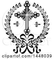 Clipart Of A Black And White Ornate Easter Cross In A Laurel Wreath Royalty Free Vector Illustration