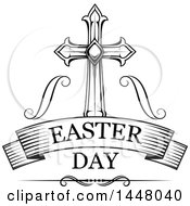 Clipart Of A Black And White Ornate Cross Over Easter Day Text In A Banner Royalty Free Vector Illustration