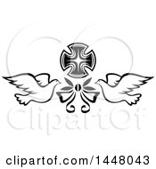 Clipart Of A Black And White Easter Cross With Doves And A Bow Royalty Free Vector Illustration
