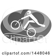 Clipart Of A Grayscale BMX Bicycle Cyclist Icon Royalty Free Vector Illustration by Vector Tradition SM