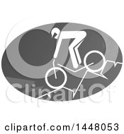 Grayscale Bicycle Mountain Cyclist Icon