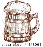 Poster, Art Print Of Brown Sketched Wood Beer Mug
