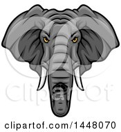 Clipart Of A Vicious Elephant Mascot Face Royalty Free Vector Illustration by Vector Tradition SM