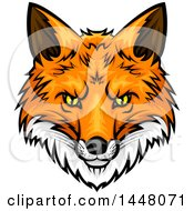 Clipart Of A Vicious Fox Mascot Face Royalty Free Vector Illustration