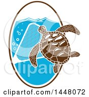 Sea Turtle With A Net