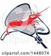 Clipart Of A Red Shrimp And Navy Blue Net Royalty Free Vector Illustration by Vector Tradition SM