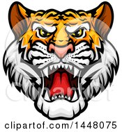 Clipart Of A Vicious Tiger Mascot Face Royalty Free Vector Illustration by Vector Tradition SM